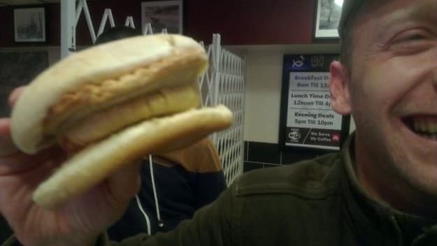 Damian with a pie butty
