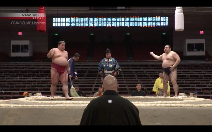Japan has banned large gatherings, so this Sumo Tournament is being played to an empty arena.