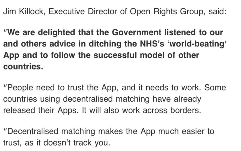 """We are delighted that the Government listened to our and others advice in ditching the NHS's 'world-beating' App and to follow the successful model of other countries. ""People need to trust the App, and it needs to work. Some countries using decentralised matching have already released their Apps. It will also work across borders. ""Decentralised matching makes the App much easier to trust, as it doesn't track you."