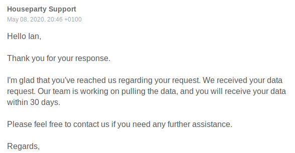 houseparty gdpr request email