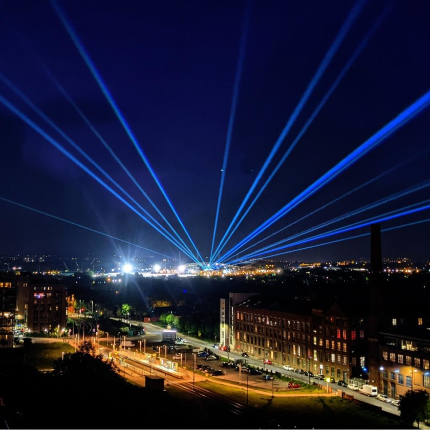 Manchester City stadium with Lasers