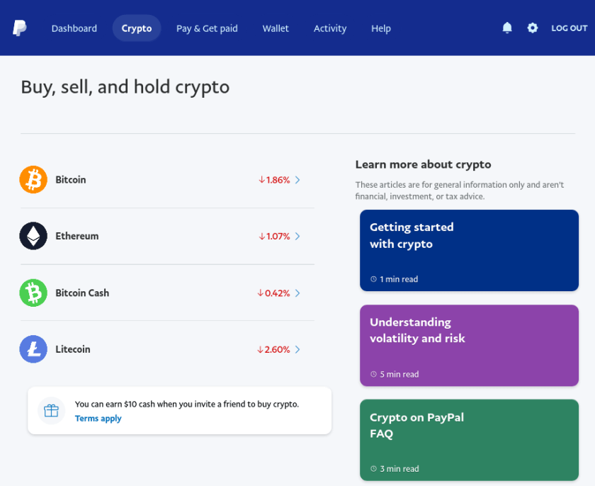 Use Paypal to buy Crypto