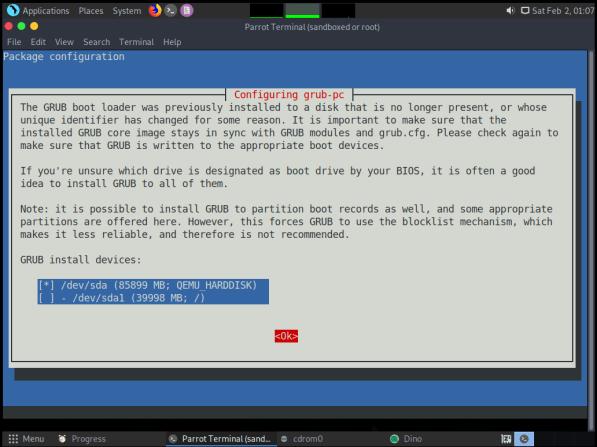 ParrotOS-29-Configure Grub post updates