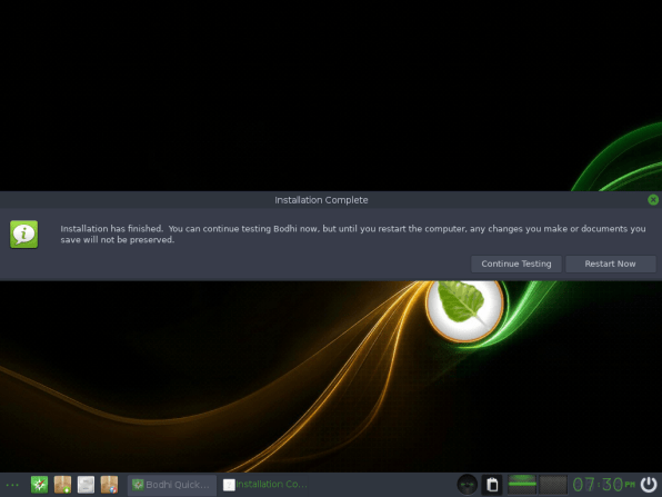 Bodhi Linux 17 Installation Complete
