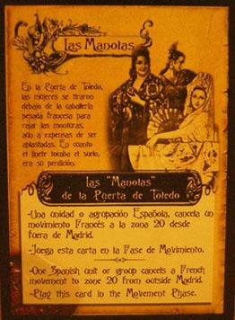 Carta del mazo español realmente fantásticas.  Dos actos de valentía y honor.  Como veis, las ilustraciones son una chulada, y el montaje de la carta permite una comprensión sin problemas, y en dos idiomas