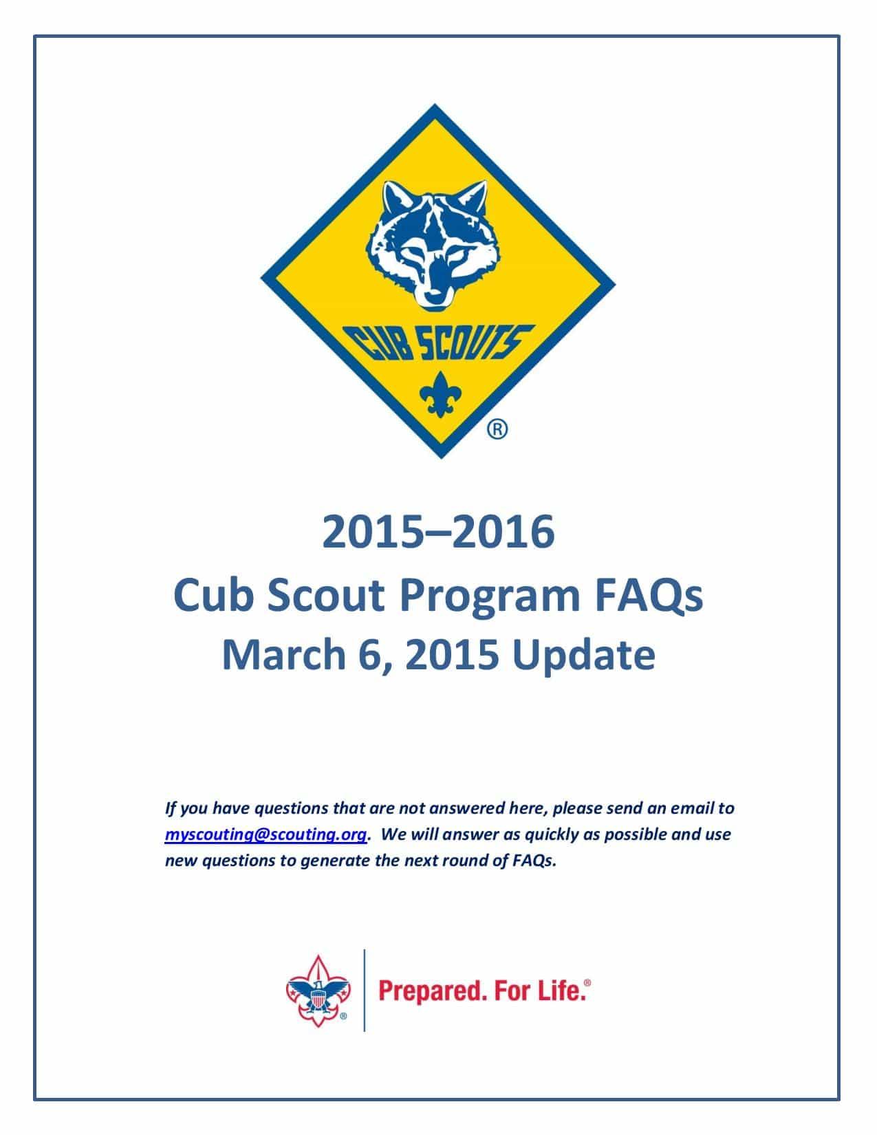 New Cub Scout Program Faqs