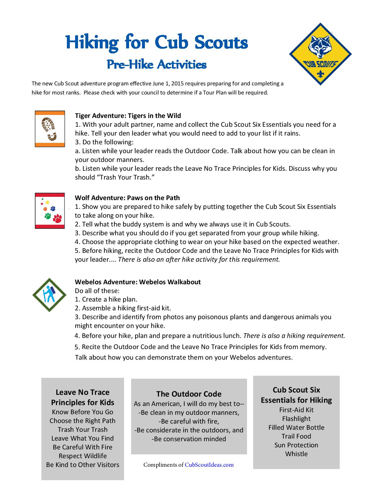 Cub Scout Hiking Cub Scout Ideas