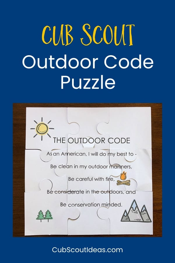 Cub Scout Outdoor Code Puzzle