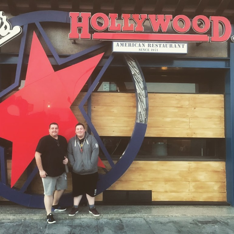 Matt and Louis outside Hollywood restaurant