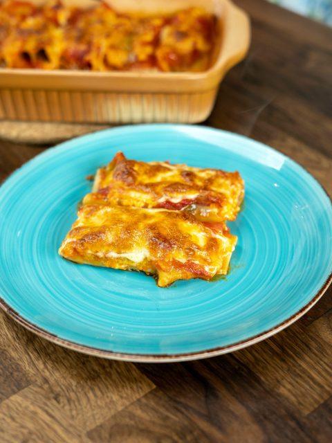 Canelones de carne com massa de lasanha