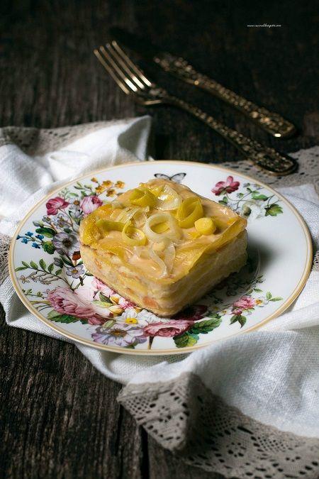 Lasagne bianche con mortadella patate e porri