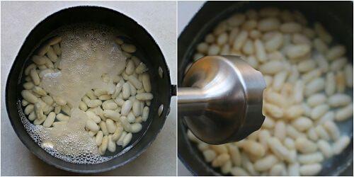 Pasta con crema di fagioli spinaci e pancetta