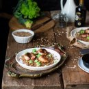gamberi con pancetta