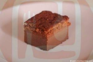 torta magica al cioccolato dettaglio di un pezzo