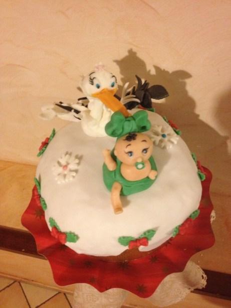 Panettone decorato con la cicogna