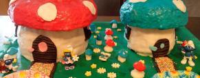 Torta di compleanno di mio figlio e mia nipote 7 anni il villaggio dei puffi