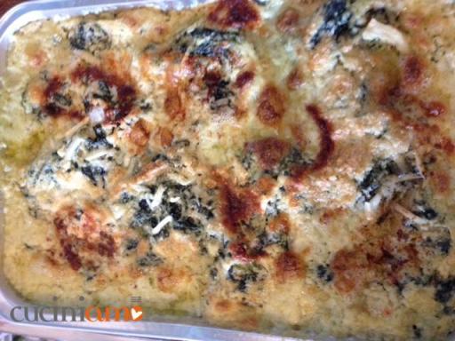 lasagne con besciamella, spinaci, caprino e stracchino di bufala