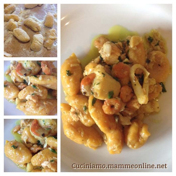 gnocchi di zucca senza uova e con farina di kamut con sugo di pesce