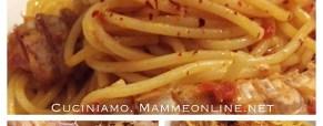 Spaghetti con le cicale di mare o canocce in rosso