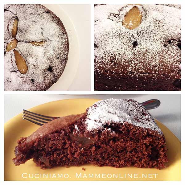 Torta deliziosa cioccolata e pere vegana