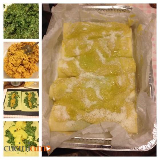 Cannelloni con ceci e pesto di spinaci