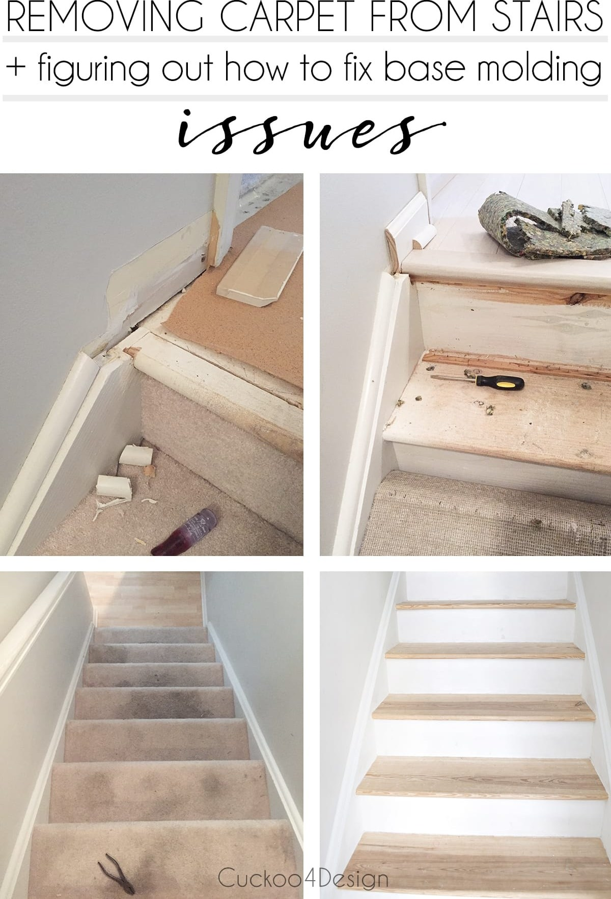 Removing Carpet From Stairs Cuckoo4Design | Carpet Strips For Steps | Border | Carpeted | Adhesive | Builder Grade | Victorian