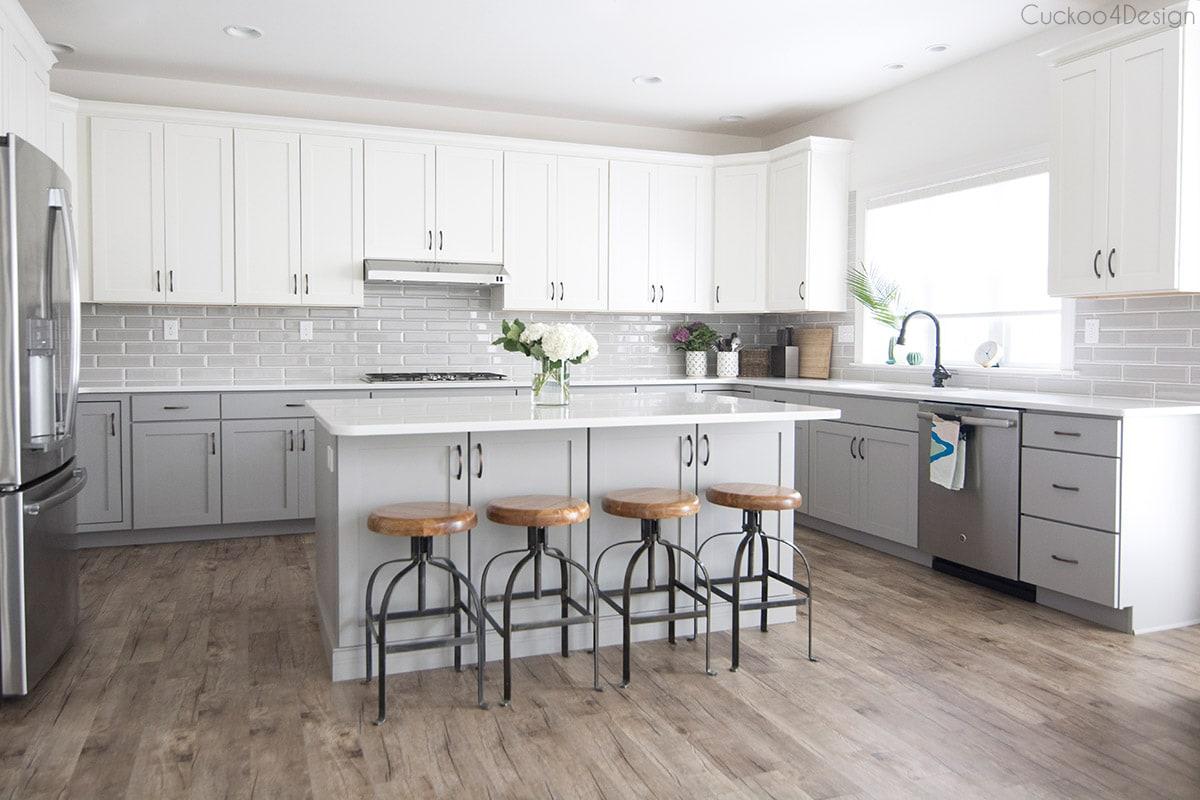 White Kitchen With Gray Flooring   Novocom.top
