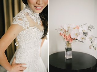 Blush & Neutral Cascade Bouquet for Karen's Midnight Ocean Wedding // photo by Marlon Capuyan Photography