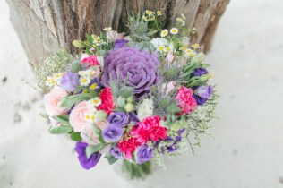 Purple, Peach & Pink Bouquet for Jeanette's Bohemian Palawan Wedding // photo by Rock Paper Scissors Photography