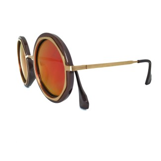 Óculos de sol feminino redondo espelhado polarizado 16222