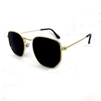 Óculos de Sol Hexagonal Canada Pequeno preto dourado