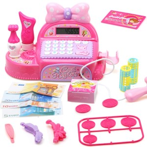Children-pink-supermarket-cash-register-role-playing-toy-girl-gift-calculator-and-scanner-multi-function-simulation