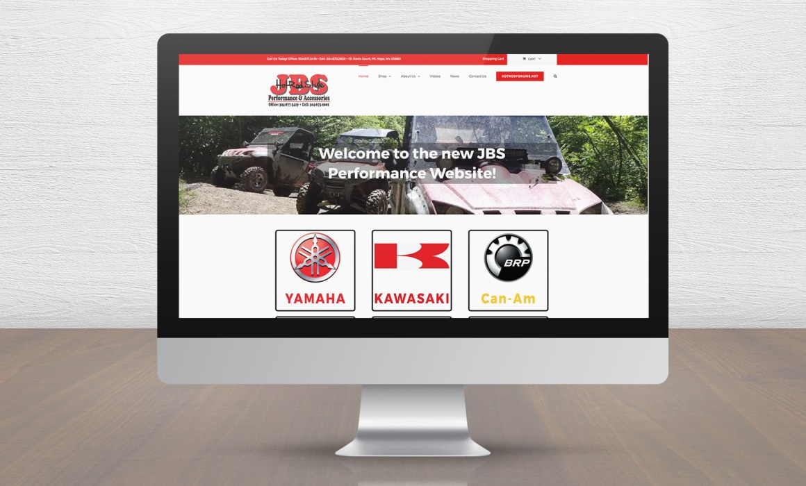 JBS Performance and Accessories website on Computer Screen