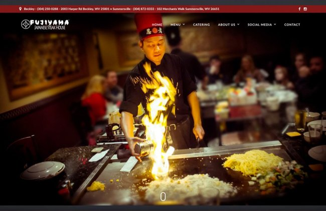 Fujiyama Japanese Steak House Home Page web design by cucumber & company