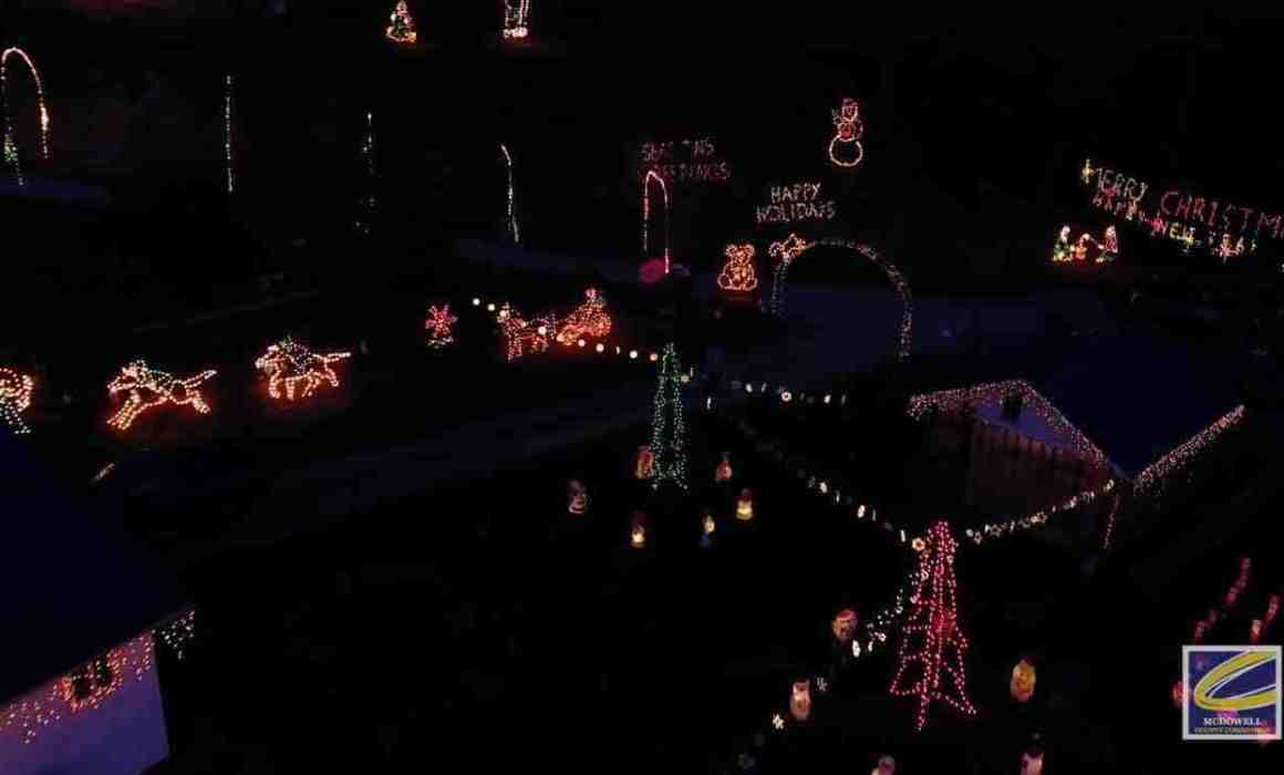 Christmas lights on Bradshaw Mountain drone footage Cucumber & Company