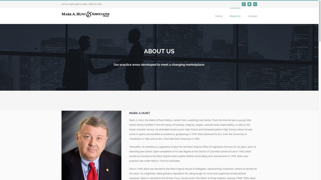 Mark Hunt & Associates Website About Us Cucumber and Company Website Design Beckley and Charleston, WV