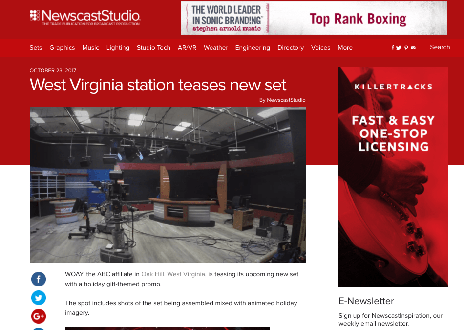 Screen shot of NewscastStudio.com WOAY Updated Studio and news Graphics by cucumber and company West Virginia video production