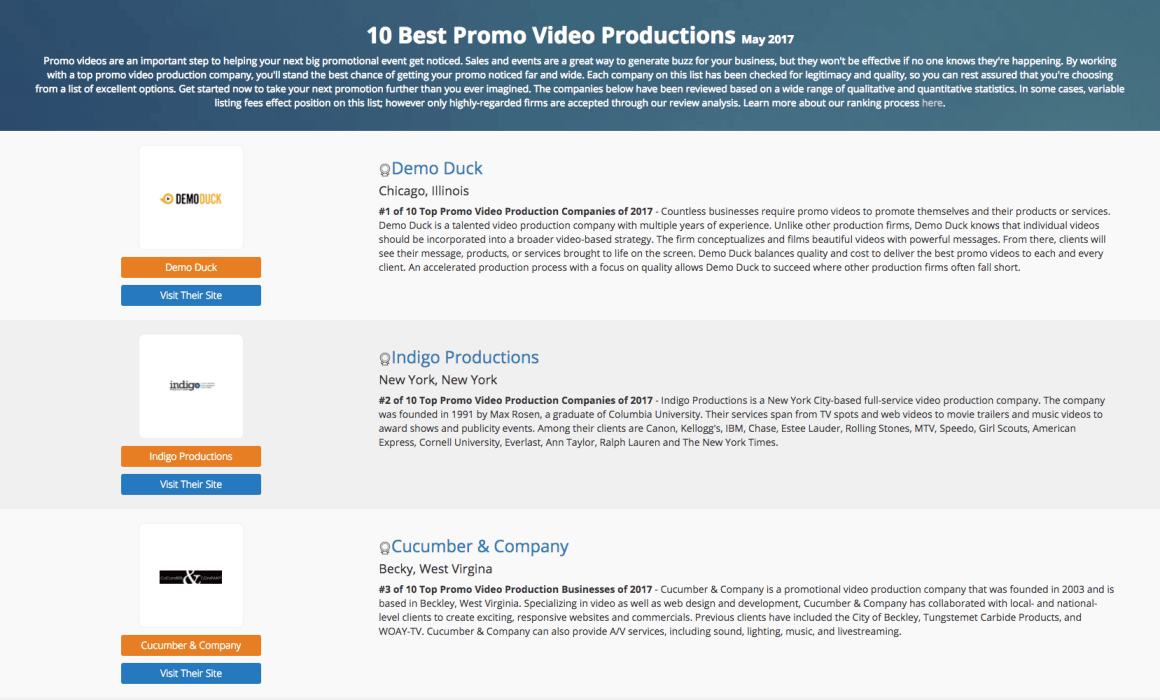Cucumber & Company Best Promo Video Production in May 2017