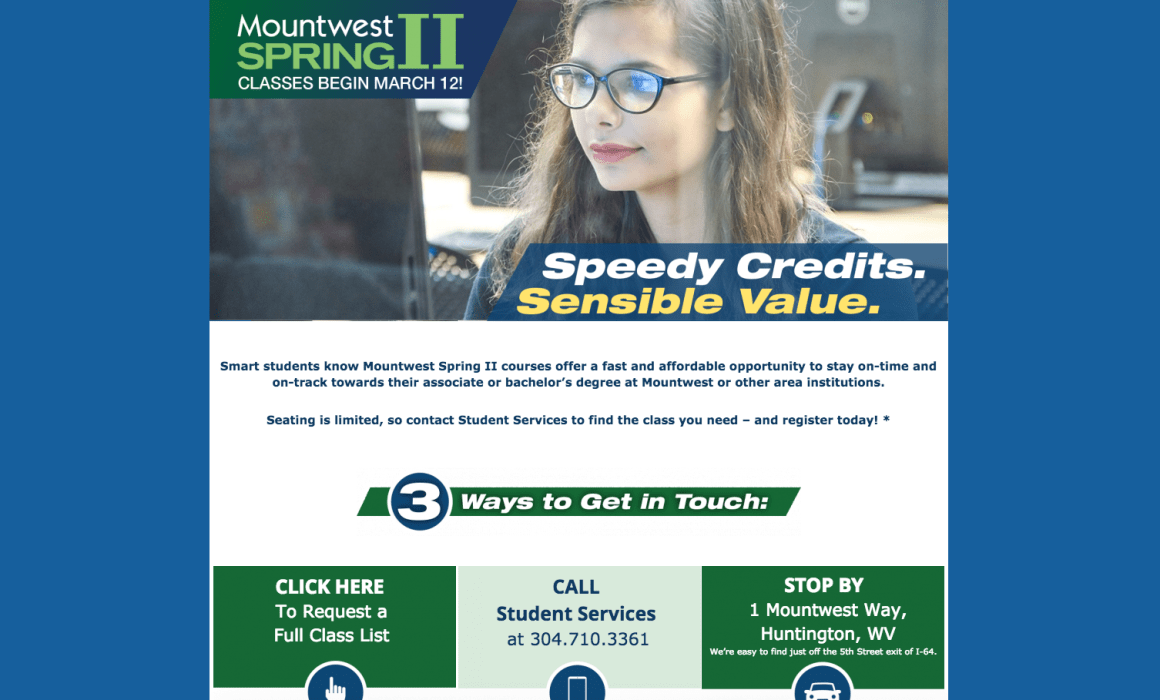 Mountwest CTC Promotes Spring II Classes Landing Page WV Web Design Cucumber & Company
