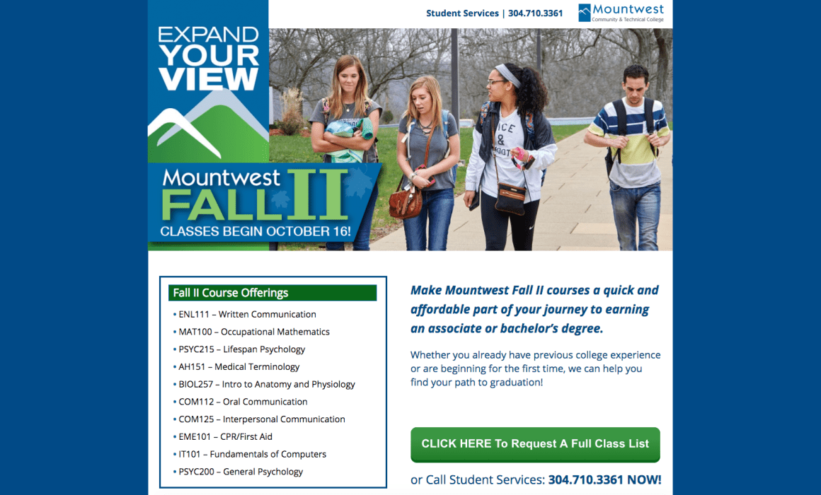 Mountwest CTC Promotes Fall II Courses Cucumber & Company Landing Page WV Web Design