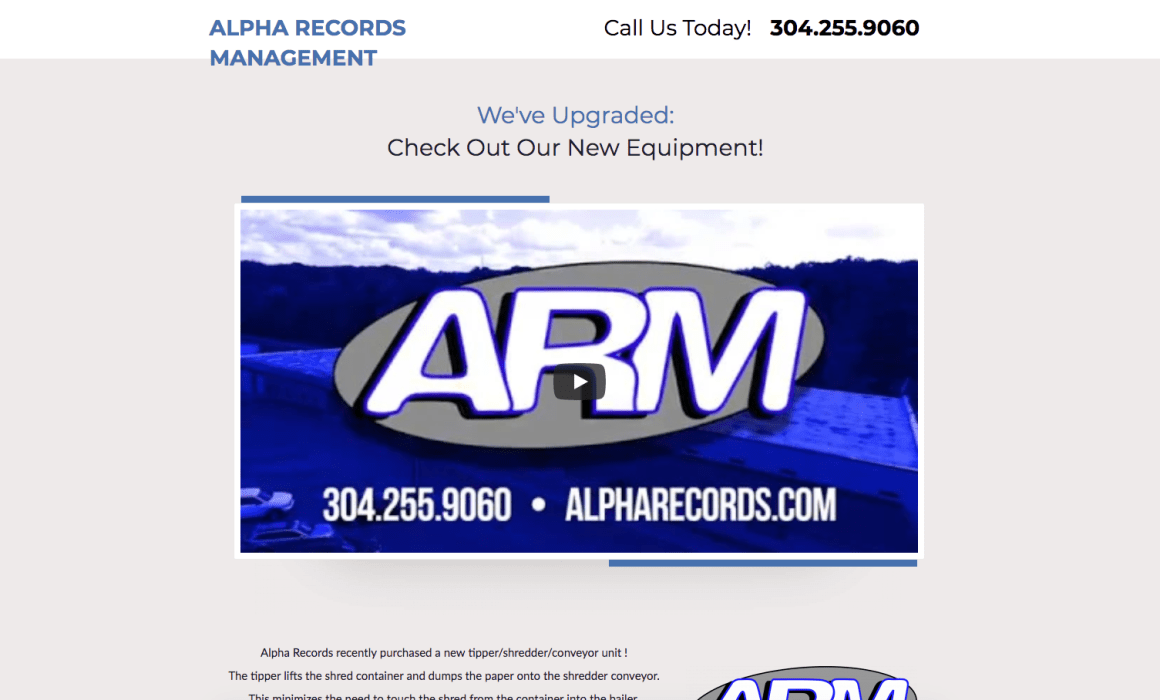 Alpha Records Management Facebook Marketing West Virginia Web Design and Video Production Cucumber & Company