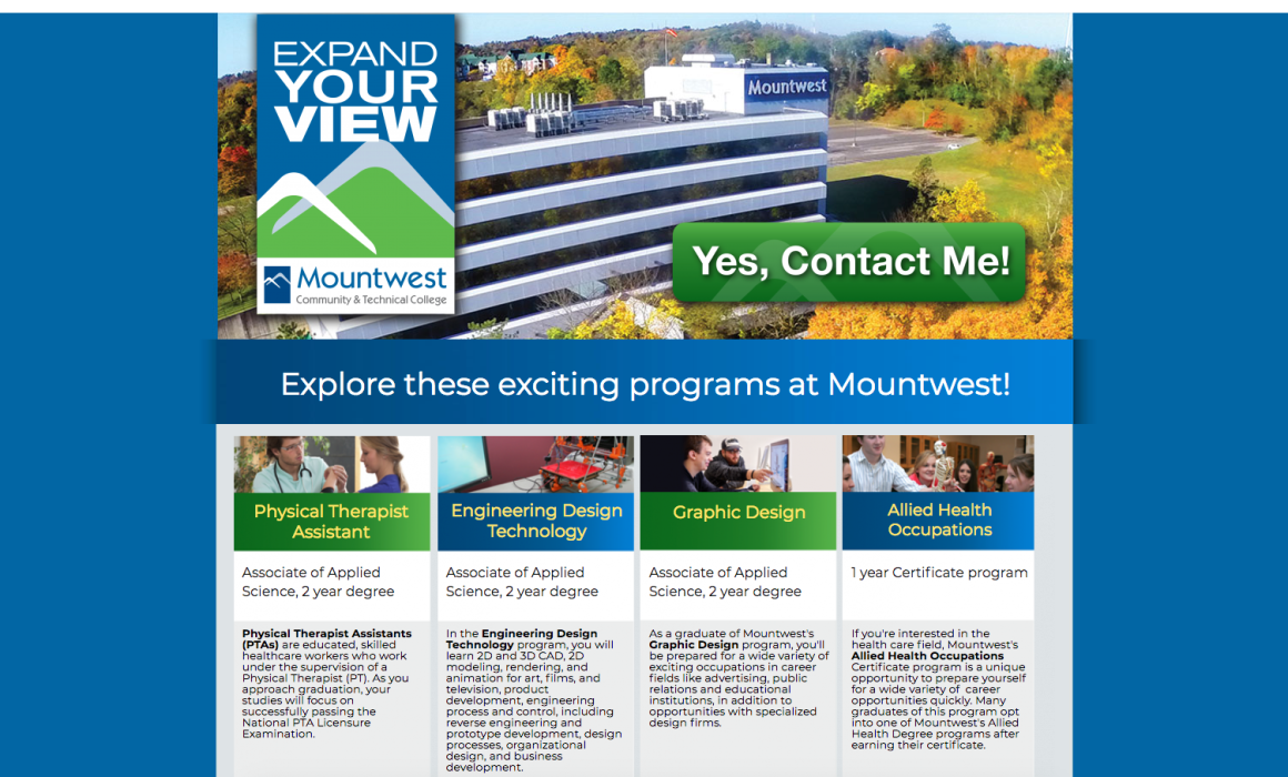 Mountwest CTC Degree Programs Landing Page from Cucumber & Company Professional Web Design West Virginia
