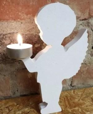 Aniołek z drewna (świecznik) - chłopiec