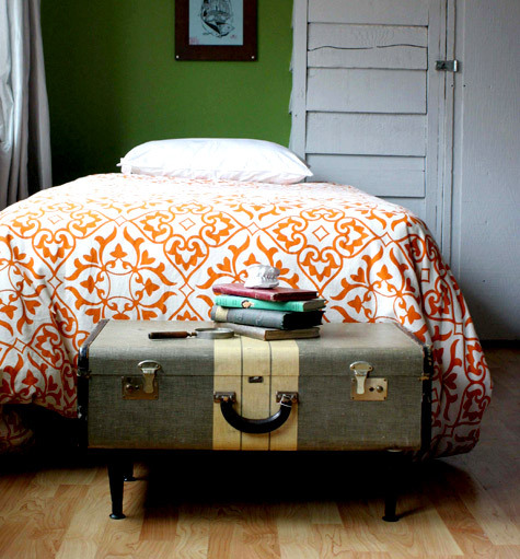 vintage suitcase as table