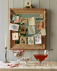 pretty holiday decorations: holiday cards display