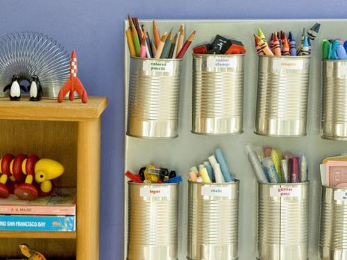 cheap easy organization: aluminum cans