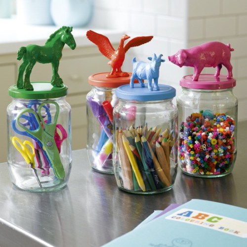 cheap easy organization: upcycled jars