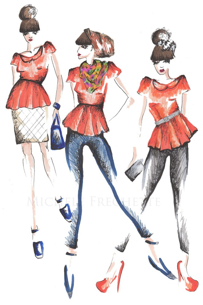 peplum fashion sketch