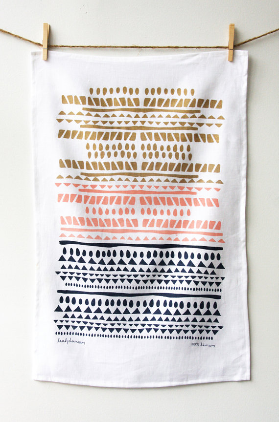 etsy finds geometric shapes: leah duncan tea towel