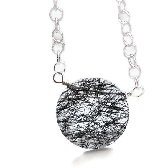 Momtrepreneur: Moon Over Maize: Tourmalinated Quartz Necklace